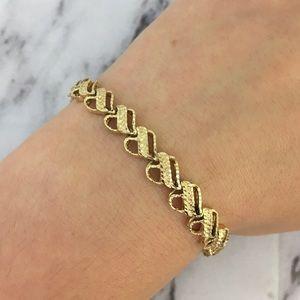 VTG 90s 14K Gold Diamond Cut Bracelet